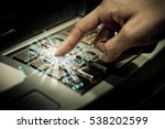 close up people hand press the... | Shutterstock . vector #538202599