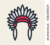 native american headdress... | Shutterstock .eps vector #538208524