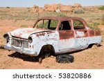 Old Rusty Wrecked Car In...