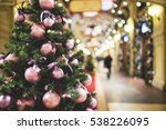 christmas pine tree decorated... | Shutterstock . vector #538226095
