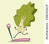 cute lettuce doing exercises on ... | Shutterstock .eps vector #538242619