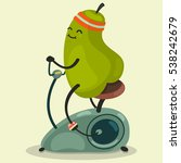 cute pear makes exercise on a... | Shutterstock .eps vector #538242679