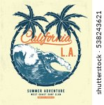 california surf typography for... | Shutterstock .eps vector #538243621