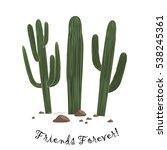 set of three cute cartoon... | Shutterstock .eps vector #538245361