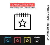 vector calendar and star icon.... | Shutterstock .eps vector #538265821