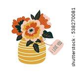 hand drawn  flowers in the vase ... | Shutterstock .eps vector #538270081