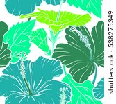hibiscus in green and blue... | Shutterstock . vector #538275349