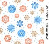 snow crystal regular texture on ... | Shutterstock . vector #538283434
