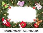 christmas frame made of fir... | Shutterstock . vector #538289005