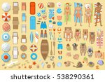 vector set. beach top view. a... | Shutterstock .eps vector #538290361