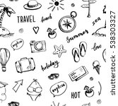 hand drawn travel seamless... | Shutterstock .eps vector #538303327