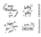 hand drawn merry christmas... | Shutterstock .eps vector #538303459
