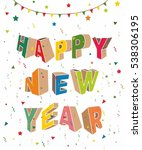 happy new year card design ... | Shutterstock .eps vector #538306195