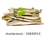 a pile of anchovies in vinegar isolated on a white background - stock photo