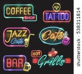 neon signs. vector neon lights... | Shutterstock .eps vector #538311814