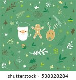 christmas doodle set. vector... | Shutterstock .eps vector #538328284