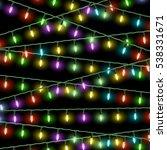 christmas lights on black... | Shutterstock . vector #538331671