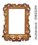 Wooden Baroque frame isolated on white - stock photo