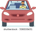 happy young man driving red car ... | Shutterstock .eps vector #538333651