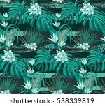 turquoise leaves and flowers.... | Shutterstock .eps vector #538339819