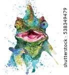 Lizard. Chameleon Watercolor...