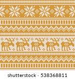 christmas sweater design. gold... | Shutterstock .eps vector #538368811