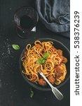 italian pasta dinner. spaghetti ... | Shutterstock . vector #538376239