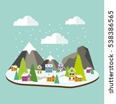 winter forest landscape with... | Shutterstock .eps vector #538386565