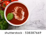 tomato soup with basil leaves ... | Shutterstock . vector #538387669