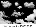 set of isolated clouds on black | Shutterstock . vector #538393555
