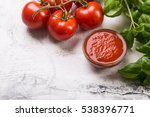 fresh tomatoes and basil leaves ... | Shutterstock . vector #538396771