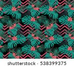 Turquoise Tropical Leaves And...