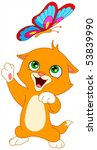 Stock vector cute kitten playing with a butterfly 53839990