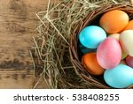 Wicker Basket With Colorful...