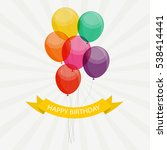 glossy happy birthday balloons... | Shutterstock .eps vector #538414441