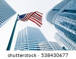view of american flag on blue... | Shutterstock . vector #538430677