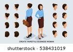 isometric business woman set 1... | Shutterstock .eps vector #538431019