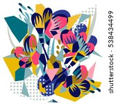 abstract floral elements paper... | Shutterstock .eps vector #538434499