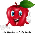 cartoon apple giving thumbs up | Shutterstock .eps vector #538434844