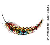 ethnic tribal motifs feather on ... | Shutterstock .eps vector #538435651