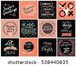 set of hipster hand drawn merry ... | Shutterstock .eps vector #538440835