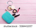turquoise make up bag and... | Shutterstock . vector #538441057