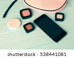 pink make up bag with... | Shutterstock . vector #538441081