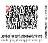 vector alphabet. calligraphic... | Shutterstock .eps vector #538446481