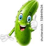 cartoon cucumber giving thumbs...   Shutterstock .eps vector #538449634