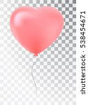 balloon as a pink heart. symbol ... | Shutterstock .eps vector #538454671