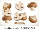 brown cremini mushroom. 3d... | Shutterstock .eps vector #538455241