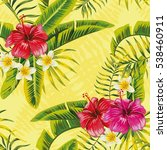 tropical banana palm leaves and ... | Shutterstock .eps vector #538460911