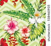 Tropical Banana Palm Leaves An...