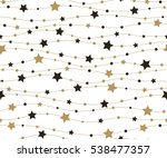 Cute festive background with gold stars. Holiday seamless pattern. Christmas star. Ornament for gift wrapping paper, fabric, clothes, textile, surface textures, scrapbook. Vector illustration.
